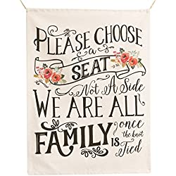 Ling's moment Please Choose a Seat Not a Side We're Family Once The Knot is Tied - Rustic Wedding Seating Banner Sign for Reception & Ceremony Decor