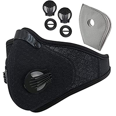 Novemkada Dustproof Masks - Activated Carbon Dust Mask with Extra Filter Cotton Sheet and Valves for Exhaust Gas, Pollen Allergy, PM2.5, Running, Cycling, Outdoor Activities