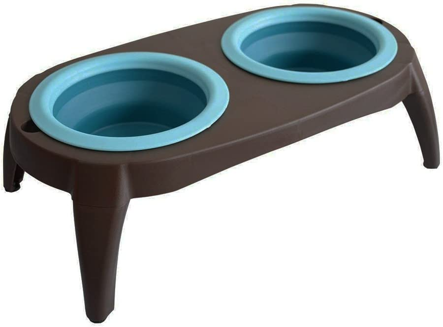ZOOPOLR Elevated Dog Bowls Double Bowl Feeder, Travel Dog Bowls, Dog Cat Bowls Stand with 2 Collapsible Silicone Bowls, Raised Pet Feeder Suitable for Small Dogs & Cats