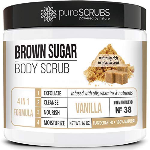 Premium BROWN SUGAR Body Scrub Exfoliating Set - Large 16oz VANILLA SCRUB For Face & Body, Infused Organic Essential Oils & Nutrients + FREE Wooden Stirring Spoon, Loofah & Mini Exfoliating Bar Soap