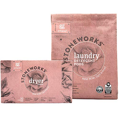 (Grab Green Stoneworks Laundry Detergent Pods and Dryer Sheet Kit, Powered by Naturally-Derived Plant & Mineral-Based Ingredients, Rose Petal, 50)