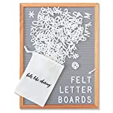 Gray Felt Letter Board 12x16 inches. Changeable Letter Boards Include 348 1'' White Plastic Letters & Oak Frame.