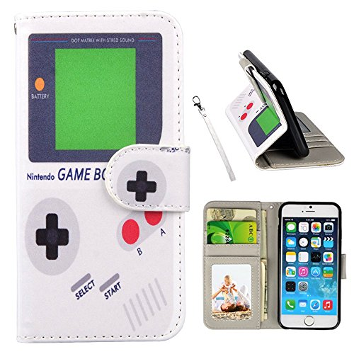 UrSpeedtekLive iPhone SE Case, iPhone 5s Wallet Case, Premium PU Leather Funny Case Flip Cover with Card Slots & Stand for iPhone SE (2016), iPhone 5/5S, Game boy Pattern (Iphone 5 Cases Gameboy)