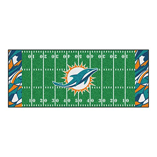 (FANMATS NFL Miami Dolphins NFL-Miami Dolphinsfootball Field Runner, Team Color, One)
