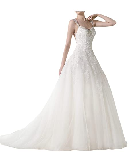 Charm Bridal Sexy Beading Backless Wedding Dress Evening Prom Gowns with Train -2-Ivory
