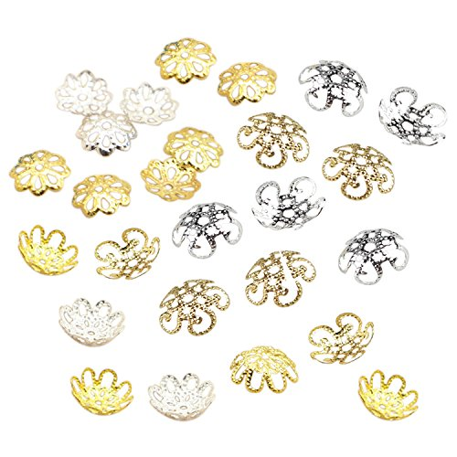 600PCS Gold Silver Iron Filigree Flower 9mm 10mm Bead Caps for Jewelry Making End Caps by SkyCooool ()