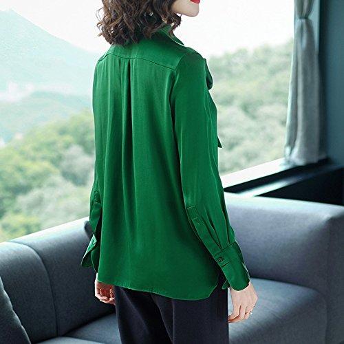 Regalo Mujeres green Color Puro Temperamento Camisa De L Y Tops Empalme l Toma Cien Parientes Decoración La Corbata Verdadera Alambre Seda Amigos Juventud Las amp;kk gwYq8B