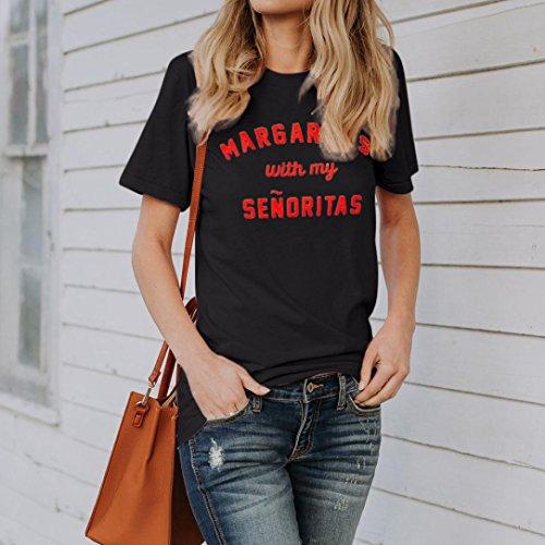Femme Manches Col Ample Rond Ete Grande Ado Angelof Message T Basique Top Courtes Taille Noir Fille Blouse Shirt qf7ptS