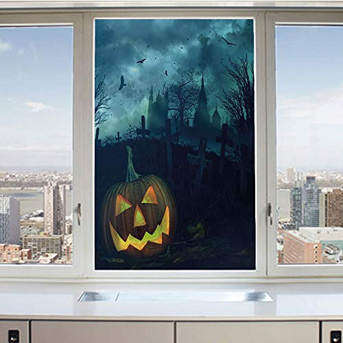 3D Decorative Privacy Window Films,Halloween Pumpkin in Spooky Graveyard Eerie Gloomy Stormy Atmosphere,No-Glue Self Static Cling Glass Film for Home Bedroom Bathroom Kitchen Office 24x36 Inch -