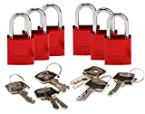 Brady 133288 Keyed Padlock, Alike Key, Aluminum (Pack of 6)