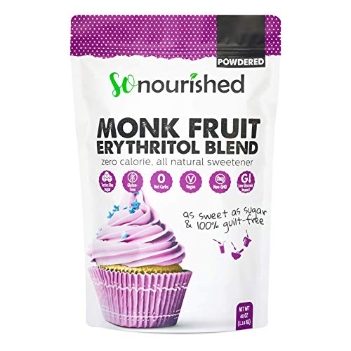 Powdered Monk Fruit Sweetener with Erythritol Confectioners (2.5 lb / 40 oz) Perfect for Diabetics & Low Carb Dieters - 1:1 Sugar Replacement - No Calorie Sweetener, Non-GMO, Natural Sugar Substitute (Best Artificial Sweetener For Baking)