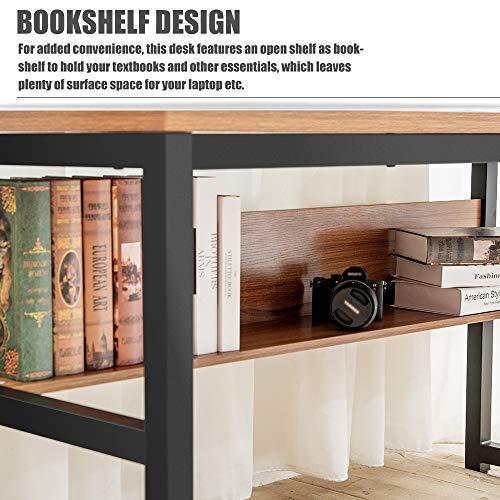 TOPSKY 55'' Computer Desk with Bookshelf/Metal Desk Grommet Hole Wire Cover (Oak_Brown+Black Frame) by TOPSKY (Image #6)