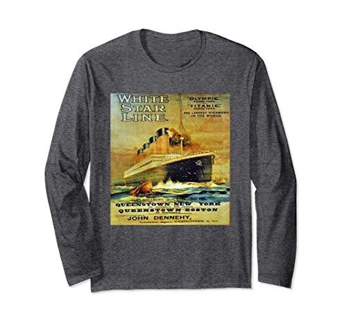 Unisex Titanic White Star Line Vintage Poster Long Sleeve T-Shirt Large Dark Heather