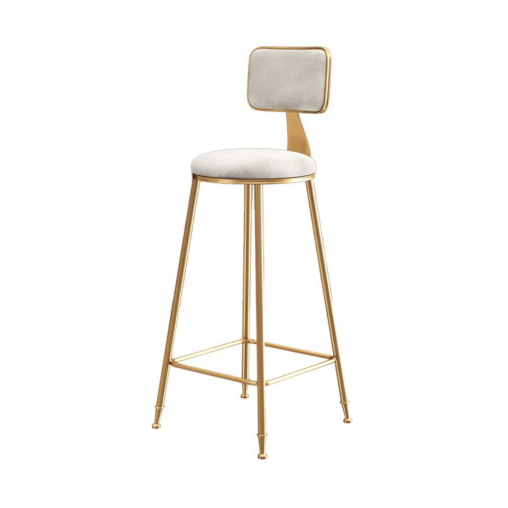 White Nordic Bar Chair, Household Restaurant Lounge Chair Armchair Decoration Dining Chair Coffee Shop Tea Shop gold Iron Art High Stool Furniture,Green