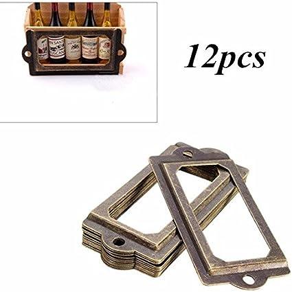 12pcs Antique Brass Metal Label Pull Frame Handle File Name Card Holder for Furniture Cabinet Drawer Case