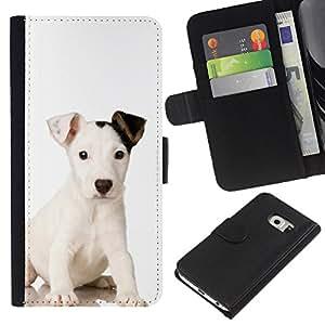 Mutt Baby Mongrel Puppy Dog - la tarjeta de Crédito Slots PU Funda de cuero Monedero caso cubierta de piel Samsung Galaxy S6 EDGE