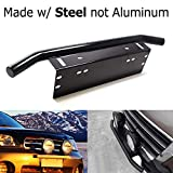 jeep liberty 2003 grill guard - iJDMTOY Bull Bar Style Stainless Steel Front Bumper License Plate Mount Bracket Holder For Off-Road Lights, LED Work Lamps, LED Lighting Bars, etc (Black, Universal Fit)