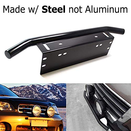 iJDMTOY Bull Bar Style Stainless Steel Front Bumper License Plate Mount Bracket Holder For Off-Road Lights, LED Work Lamps, LED Lighting Bars, etc (Black, Universal Fit) ()