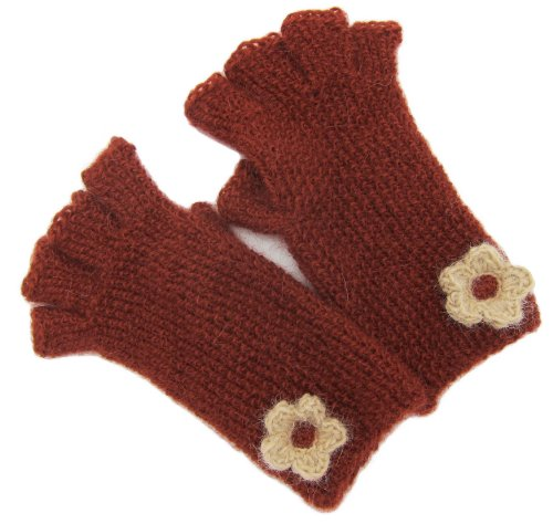 Handmade PURE ALPACA Fingerless Gloves – Terracotta (CUSTOM MADE, JUST FOR YOU!)