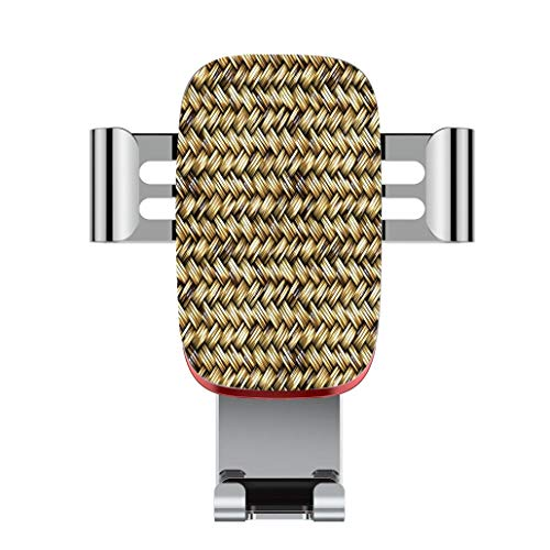 Metal automatic car phone holder,Abstract,Rattan Basket Weave Pattern Natural Boho Country Style Geometric Monoch,adjustable 360 degree rotation, car phone holder compatible with 4-6.2 inch smartphone