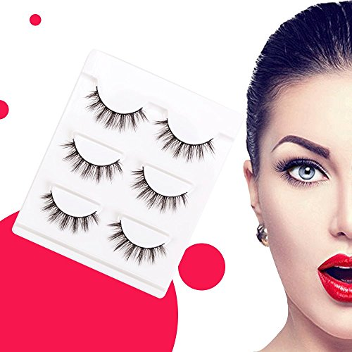 3D False Eyelashes Extensions 3Pairs Natural Long Lashes With Volume for Womens Make Up Handmade Soft Fake Eyelash