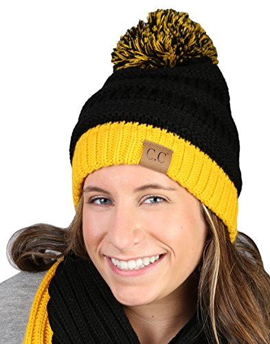 Spirit Referee Costume (CC Beanie Pro College High School Team Game Day Pom Hat - Black & Gold)