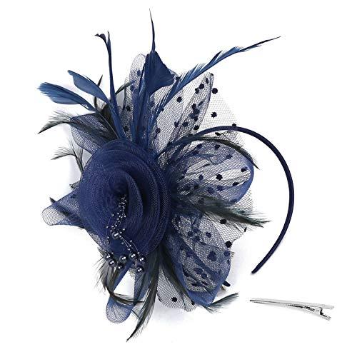Xflyee Fascinators Hat Flower Mesh Ribbons Feathers Tea