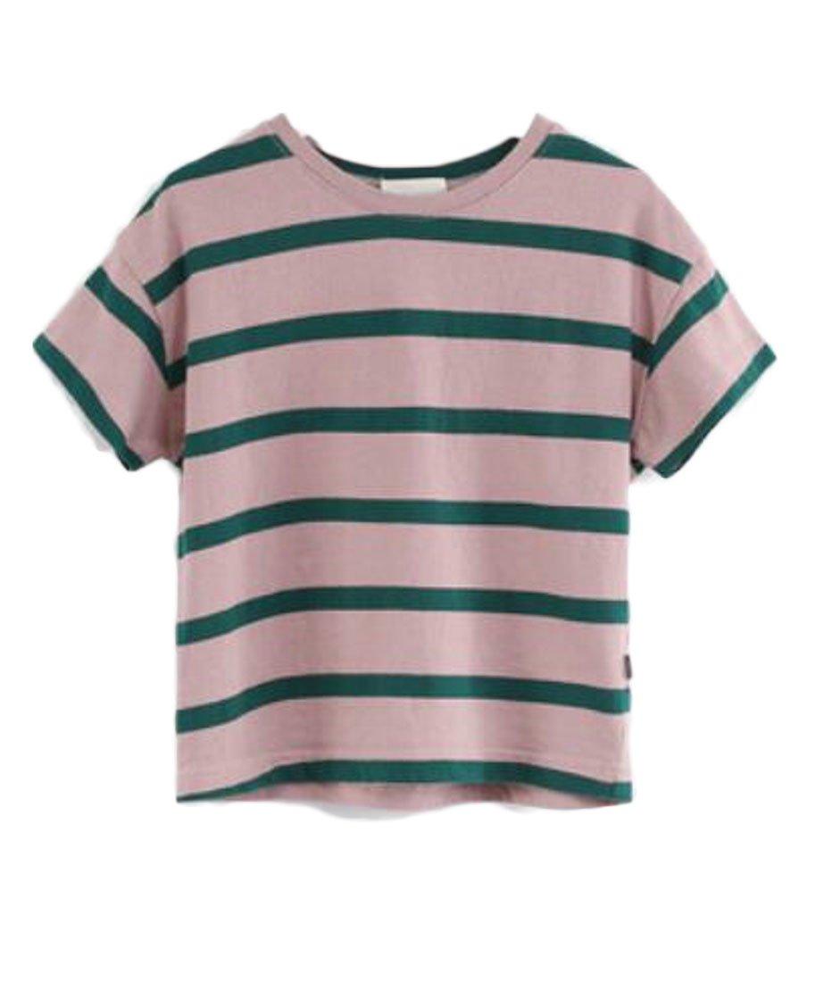 Lutratocro Girl' Fashion Cozy Cotton Crewneck Short Sleeve T-Shirt Top Tee Green 10/11T