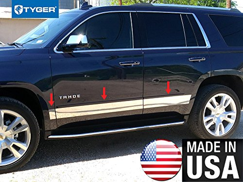 Made in USA! Tyger Chevy Rocker Panel Trim Works with 2015-2018 Tahoe/Yukon Below Body Side Molding 4 1/2'' Wide 8PC