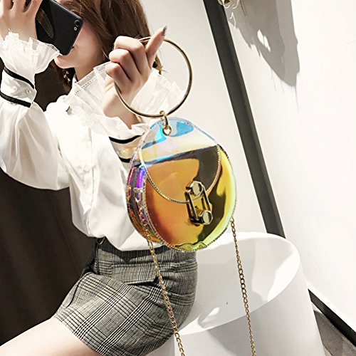 Cross Leather Shiny Bag Shoulder for Bag Chain Round body Women Satchel Laser LUOEM PU qz4wTT
