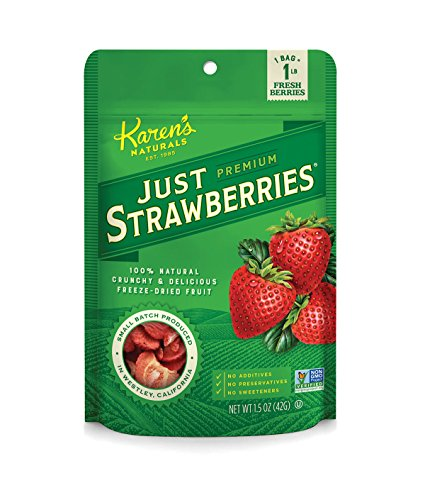 Karen's Naturals, Just Strawberries 1.5 Ounce Pouch (Packaging May Vary) (Freeze Fresh Strawberries)