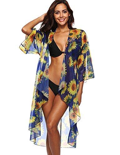ROPALIA - Bañador de Gasa para Mujer, diseño Floral de Kimono y Chaqueta de Punto, Azul, Talla única