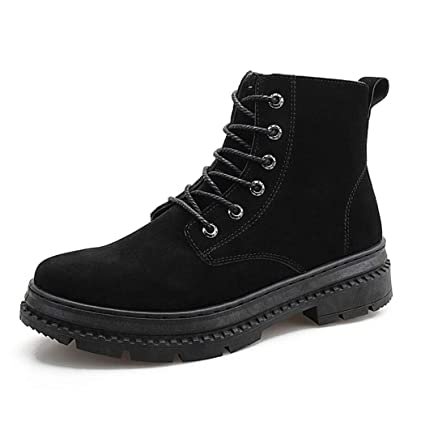 ab4686f27f3e Zaqxs Men s High-top Work Shoes Fashion Casual Lace-up Sneakers Black Brown  (