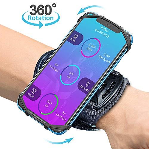 Bovon Telefoonhoesje voor mobiele telefoon, 360 graden rotatie, pols-telefoonhouder, joggen voor alle telefoons met een…
