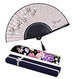 Amajiji folding fan, 8.27''(21cm) Women Hand Held Silk Folding Fans with Bamboo Frame, Hollow Carve Patterns Bamboo Frame Women Hand Folding Fans Hand Fan Folding Fan (Gray With Gift Box)