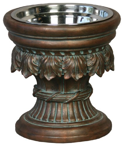 (Unleashed Life Baroque Collection – Raised Single Dog & Cat Bowl Food Stand)