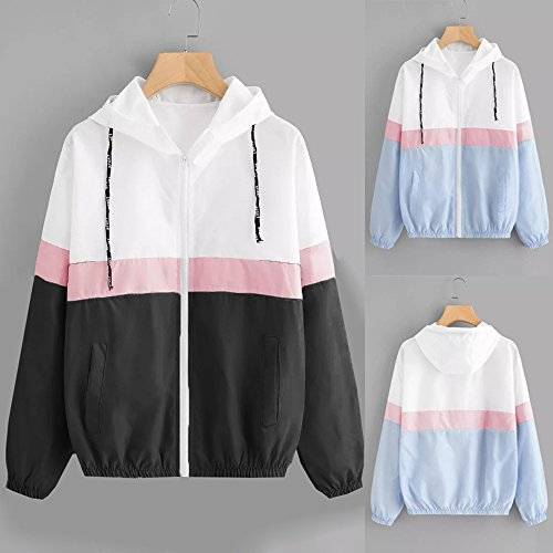 Outwear Pocket Jumper Size Women Girls Coat Overcoat 6 Thin Hoodies HOMEBABY Blue UK Zipper Long 18 Casual Coat Patchwork Sport Cardigan Jacket Hooded Sleeve with Pullover fxqwvUR
