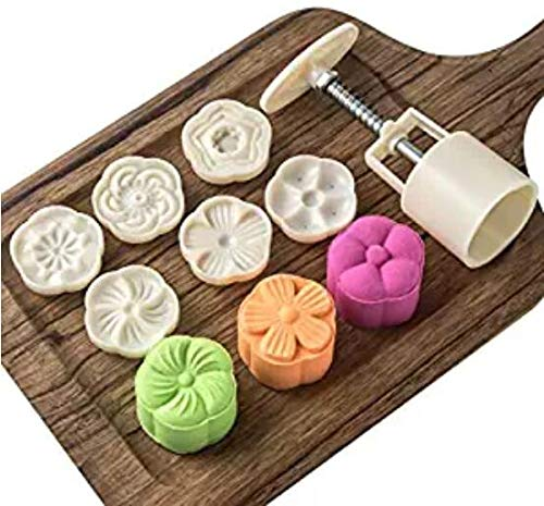 HUAL Moon Cake Mold With Stamps - Mid Autumn Festival DIY Decoration Press (Plum 6Pcs)