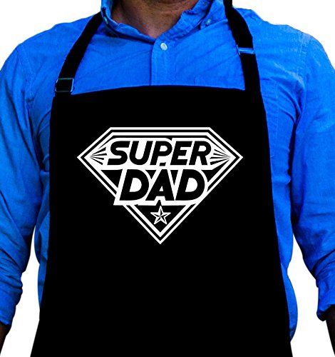 BBQ Grill Apron - Super Dad - Funny Apron For Dad - 1 Size Fits All Chef Apron High Quality Poly/Cotton 4 Utility Pockets, Adjustable Neck and Extra Long Waist Ties (Dad Apron)