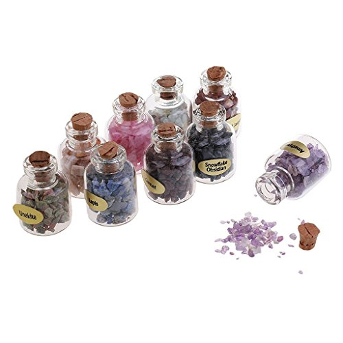 Gemstone Mini Bottle - 9 Mini Semi Precious Gemstone Bottles in Display Box - Healing Stones MY1140