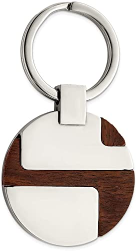 Stainless Steel Mens Accessory Key Rings Polished Wood Inlay Key Chain