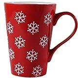 Angelice Home Snowflake Mug, Red Morning Coffee Ceramic Mug, Novelty Mug Gift for Coffee Lovers