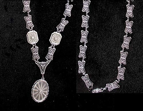 1920s 3 Piece Camphor Glass Necklace Edwardian Rhodium Lavalier Necklace 3 Camphor Glass Stones, 19 Edwardian Links.Presently 16 Inches Matching