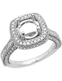 0.90 Carat (ctw) 10K Gold Round Cut White Diamond Ladies Bridal Semi Mount Engagement Ring