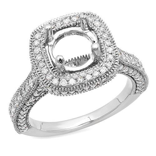 (Dazzlingrock Collection 0.90 Carat (ctw) 10K Round White Diamond Bridal Semi Mount Engagement Ring, White Gold, Size 7 )