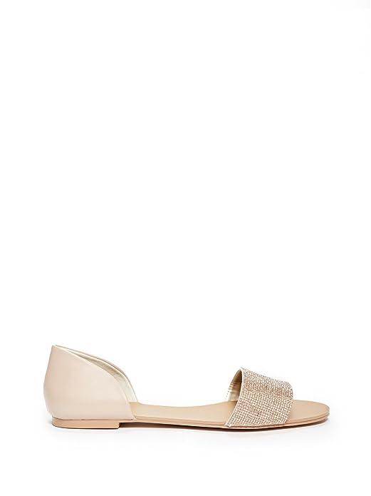 4f4b090a13b2 GUESS Factory Women s Lace Rhinestone Flat Sandals  Amazon.co.uk  Shoes    Bags