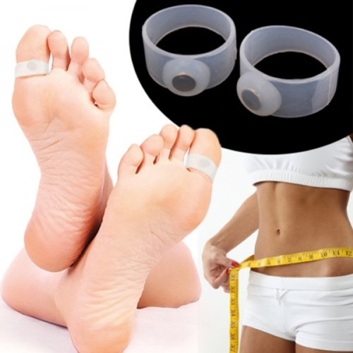 Pair of Body Slimming Silicone Magnetic Toe Rings Lose Weight H01124
