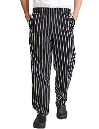 Black White Stripes Cargo Style Chef Pant