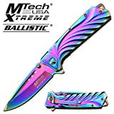 M Tech Tactical Folding Knife Rainbow Titanium Coated Blade Spring Assisted Knife Review