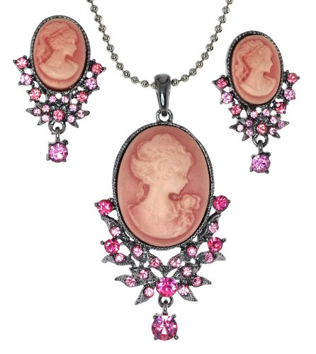 Profile Cameo Simulated Rhinestone Necklace and Post-Back Earing Set-Pink (Necklace Cameo Clasp)